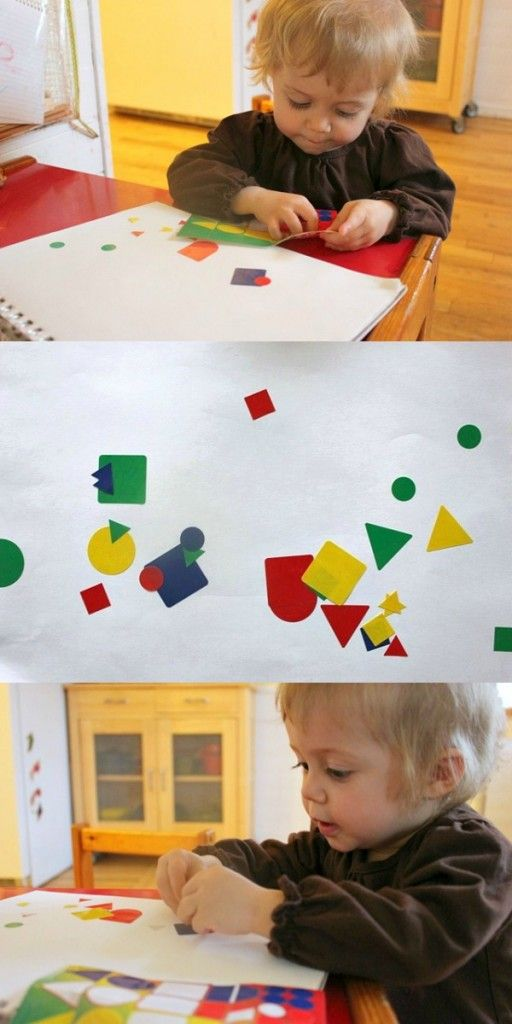 Using geometric stickers for a toddler sticker art collage