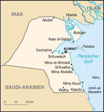 Karte von Kuwait // Kuwait Karte ◆Kuwait – Wikipedia https://de.wikipedia.org/wiki/Kuwait #Kuwait