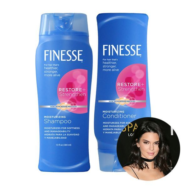 "<p>As a model, Kendall Jenner's hair has to stand up to hot tools, plenty of products and harsh dyes, yet her tresses always look on point. Her secret? Finesse shampoo. ""I've tried all the expensive things, too. It just works for my hair and makes it so silky,"" she told Allure, also mentioning that sister Kim Kardashian uses it too. The best part? It costs just $2.25! </p>"