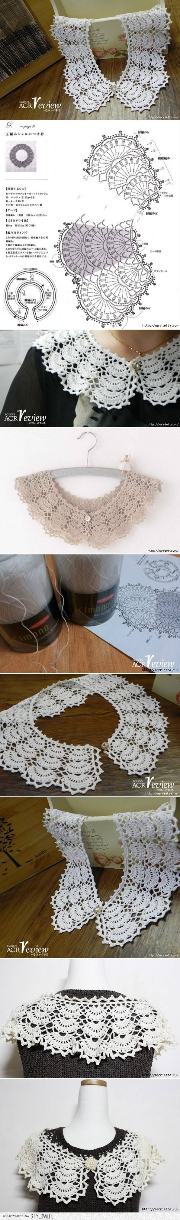 DIY Open Work Crochet Collar DIY Projects | UsefulDIY.c… na Stylowi.pl bel colletto con schema.