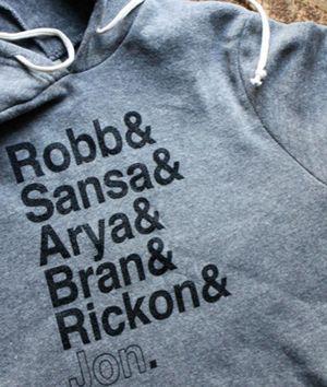 OH MY GOD. I need this. Song of Ice and Fire hoodie: Robb & Sansa & Arya & Bran & Rickon & Jon.