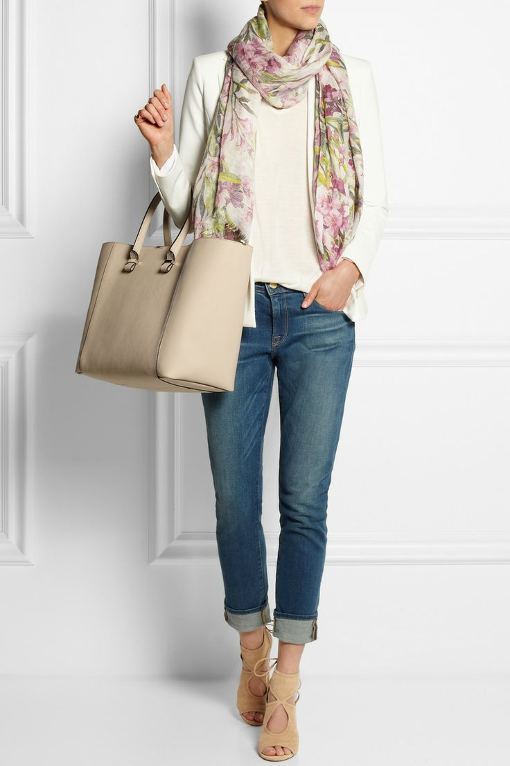 Dolce & Gabbana | Floral-print modal, linen and silk-blend scarf | Theyskens' Theory | Wool-crepe blazer | Rick Owens | Silk-jersey T-shirt | Frame Denim | Le Garcon mid-rise slim boyfriend jeans | Victoria Beckham | Liberty textured-leather shopper |