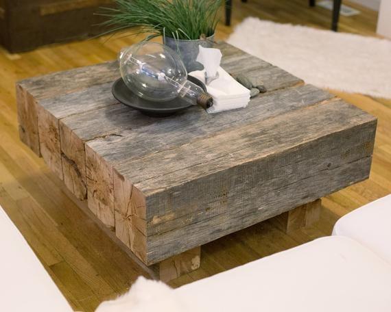 Reclaimed Lumber Beam Coffee Table Etsy Wood Coffee Table