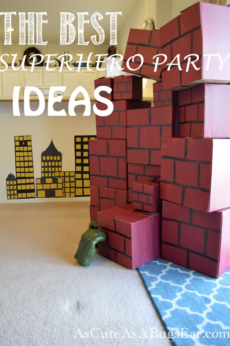The BEST Superhero Party Ideas. For Snacks, Food, Games, Crafts! Hulk Smash Wall, Pin the Star on the Shield, and more! Check out our kid-friendly party!