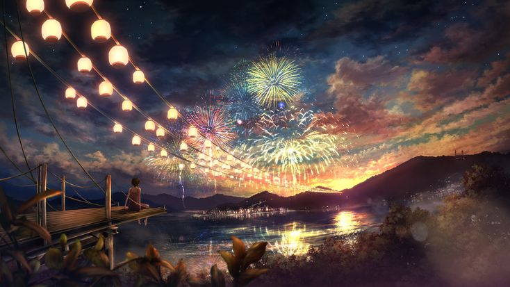 absurdres cloud clouds fireworks highres ixaga landscape mountain night night_sky original scenery scenic short_hair sky solo star tree