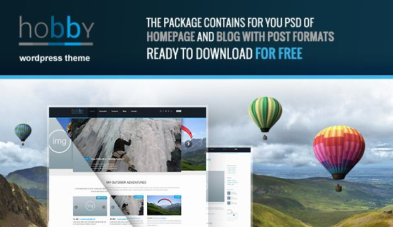 We're giving away #PSD file of #WordPress Theme Hobby for free. Package includes layered PSD file of Homepage and Blog with post formats.