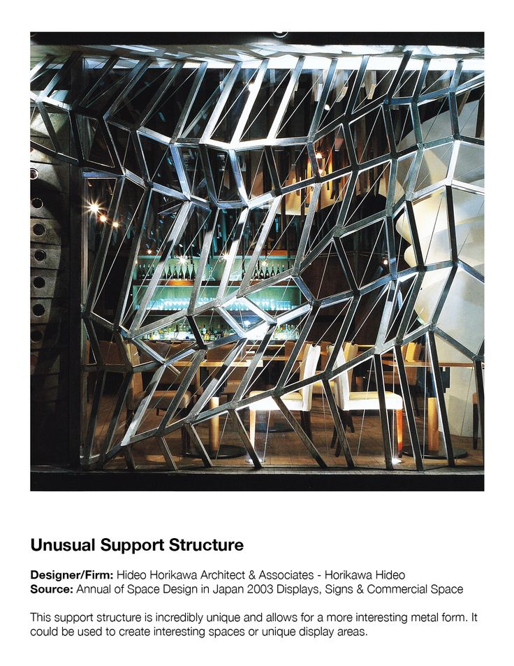 Unusual Support Structure  Designer/Firm: Hideo Horikawa Architect & Associates - Horikawa Hideo Source: Annual of Space Design in Japan 2003 Displays, Signs & Commercial Space  This support structure is incredibly unique and allows for a more interesting metal form. It could be used to create interesting spaces or unique display areas.
