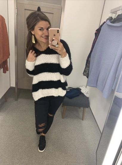 This black and white striped sweater is just as cozy and soft as it looks!  Such a fun sweater for fall and winter! Add Old Navy s perfect black  distressed ... 5c05d63d4