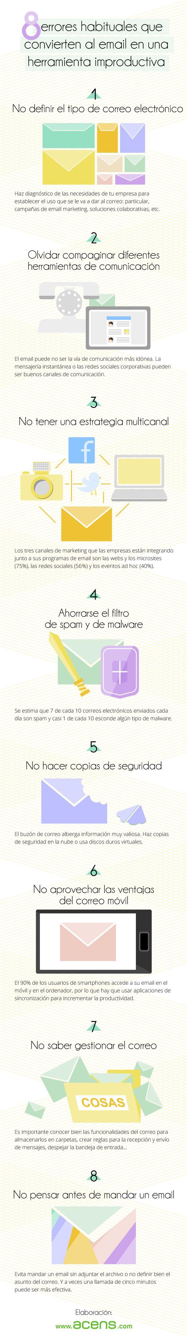 8 errores en el uso del email que lo hacen improductivo #infografia #infographic #marketing