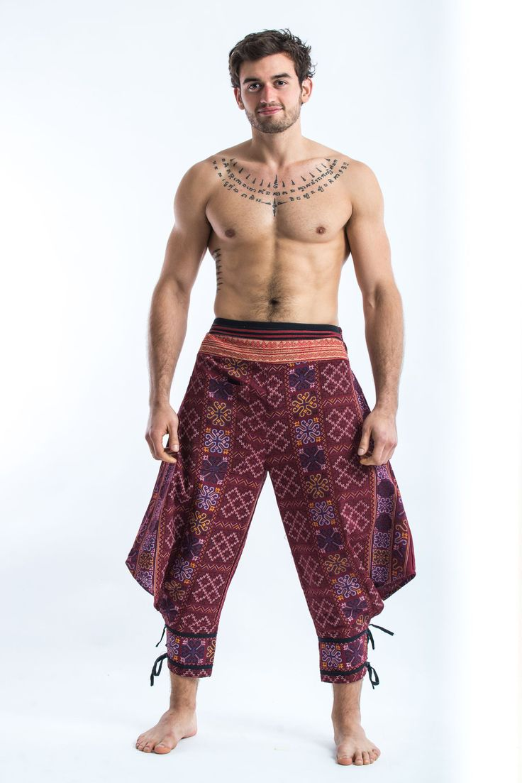 Thai Hill Tribe Fabric Men Harem Pants with Ankle Straps in Burgundy