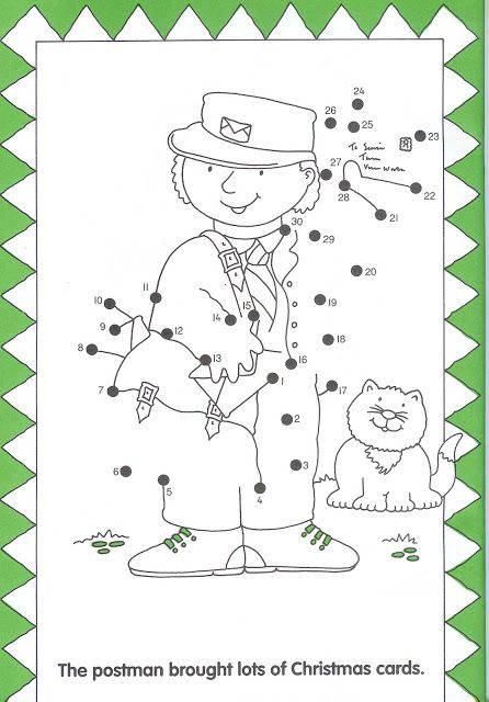 postbode, dot to dot, free printable