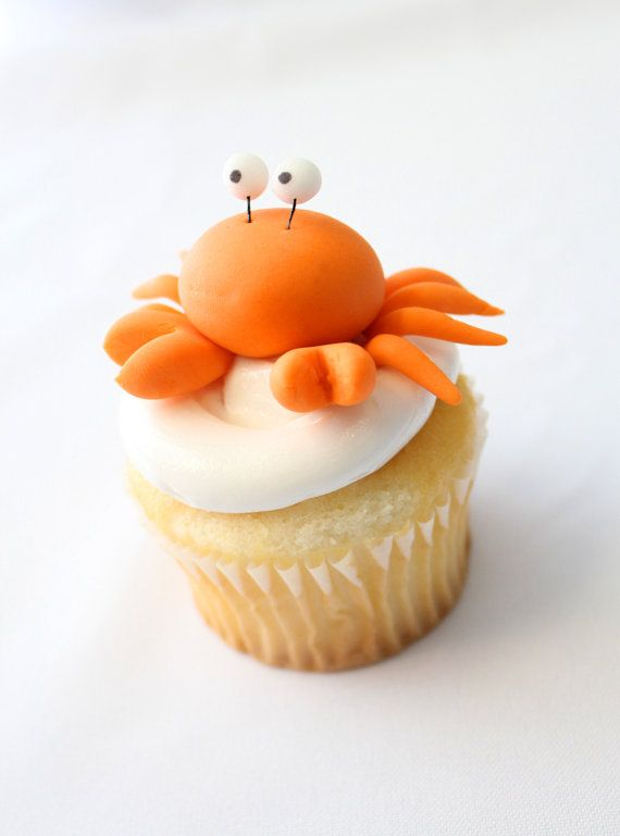 Crab Cupcake Topper - 6 qty fondant crabs- under the sea party, birthday, kids first birthday. $12.00, via Etsy.