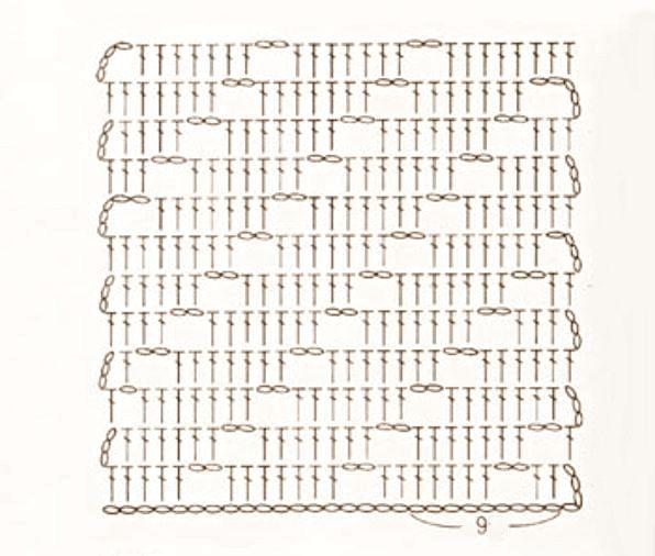 copertina a uncinetto con trafori in diagonale