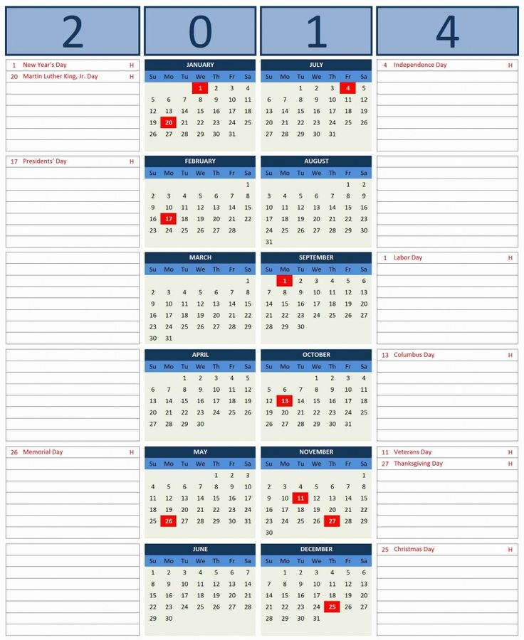 Free Excel 2014 Calendar Template Excel Templates