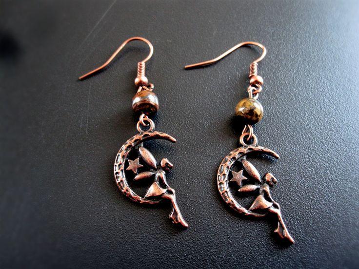 Boucle d'oreilles lune et fée cuivre de la boutique TheAsaliahShop sur Etsy