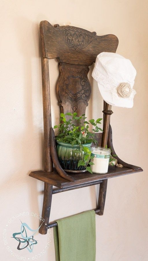 It is easy to turn an old chair into a repurposed chair shelf with a little imagination and a few power tools. by DeDe Bailey #ChairRepurposed #OldChair