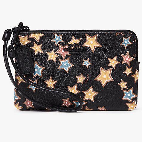 Buy Coach Leather Print Small Wristlet Purse, Black Stars Online at johnlewis.com