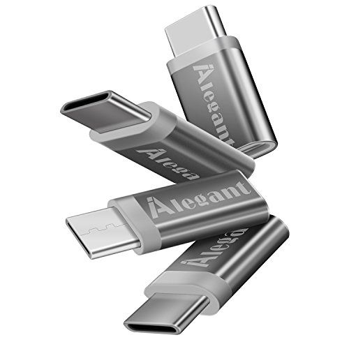 USB-C to Micro USB AdapterUSB Type C AdapteriAlegant USB C Convert Connector 56k Resistor for 2016 MacBook Pro Google Pixel/Pixel XL HTC 10 LG G5 Nexus 5X/6P and More (4 Pack Grey)