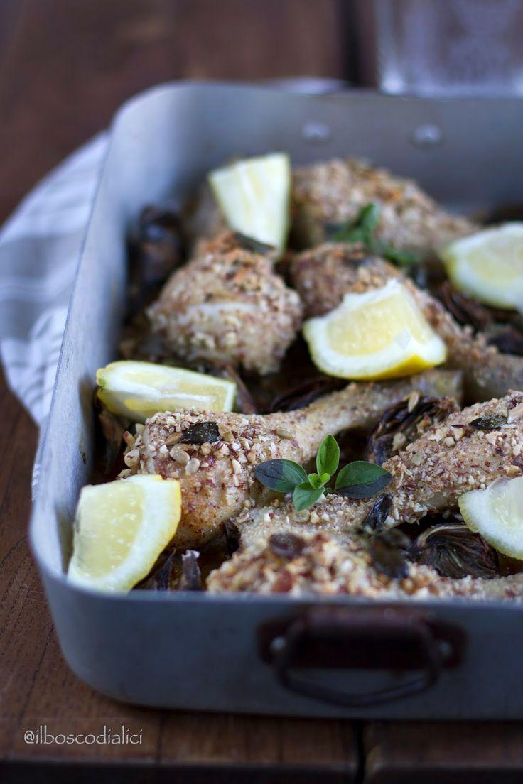 il bosco di alici: Pollo in crosta di mandorle con carciofi e limone