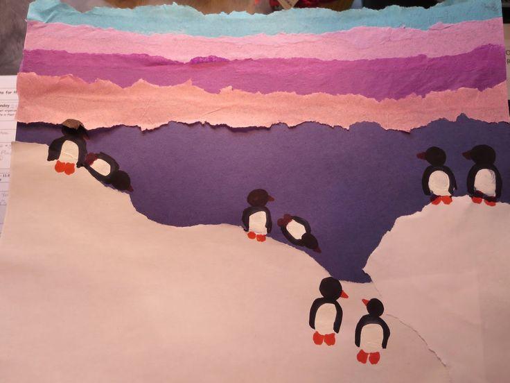 Fingerprint penguin collage