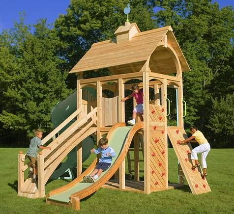 like this.  would fit in small yard yet has lots of climbing areas