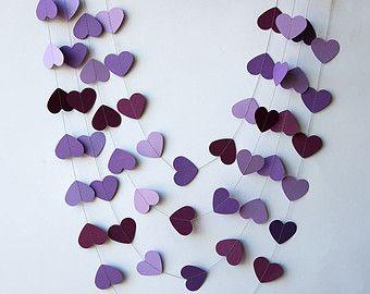 Guirlande de coeur, décoration de mariage, guirlande de Valentine, décoration mariage, décoration de mariage mauve, mariage pourpre, nuptiales de douche décor, KCO-0032