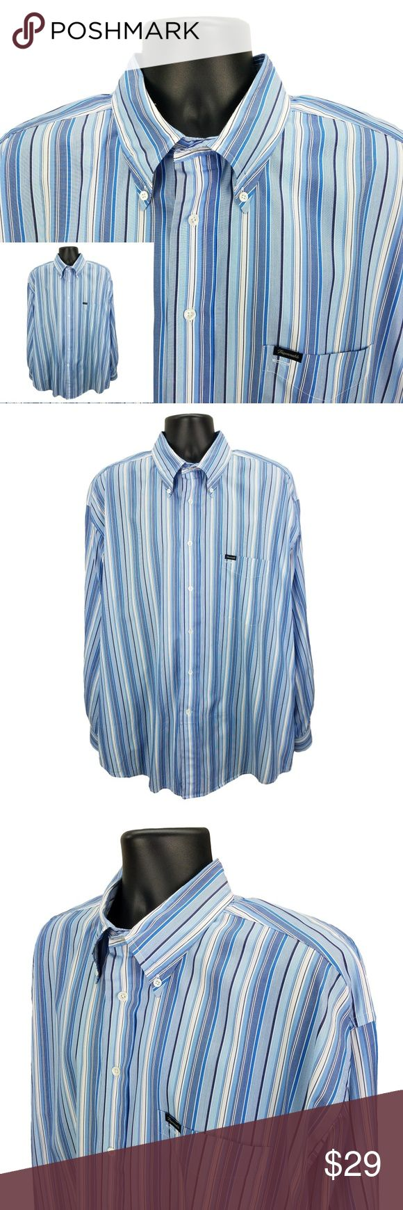 """Faconnable Relaxed Fit Button Up Shirt Men's XXL Men's Faconnable - Relaxed Fit - Button Front Shirt         ( BFL-3 )  Made of 100% Cotton  Sleeve Length =  Long  Size = XXL, 2XL  Color = Blue Stripe  Measures: 25"""" Pit to Pit  35"""" Long from Bottom of Collar to Tail  36"""" Sleeves Faconnable Shirts Casual Button Down Shirts"""