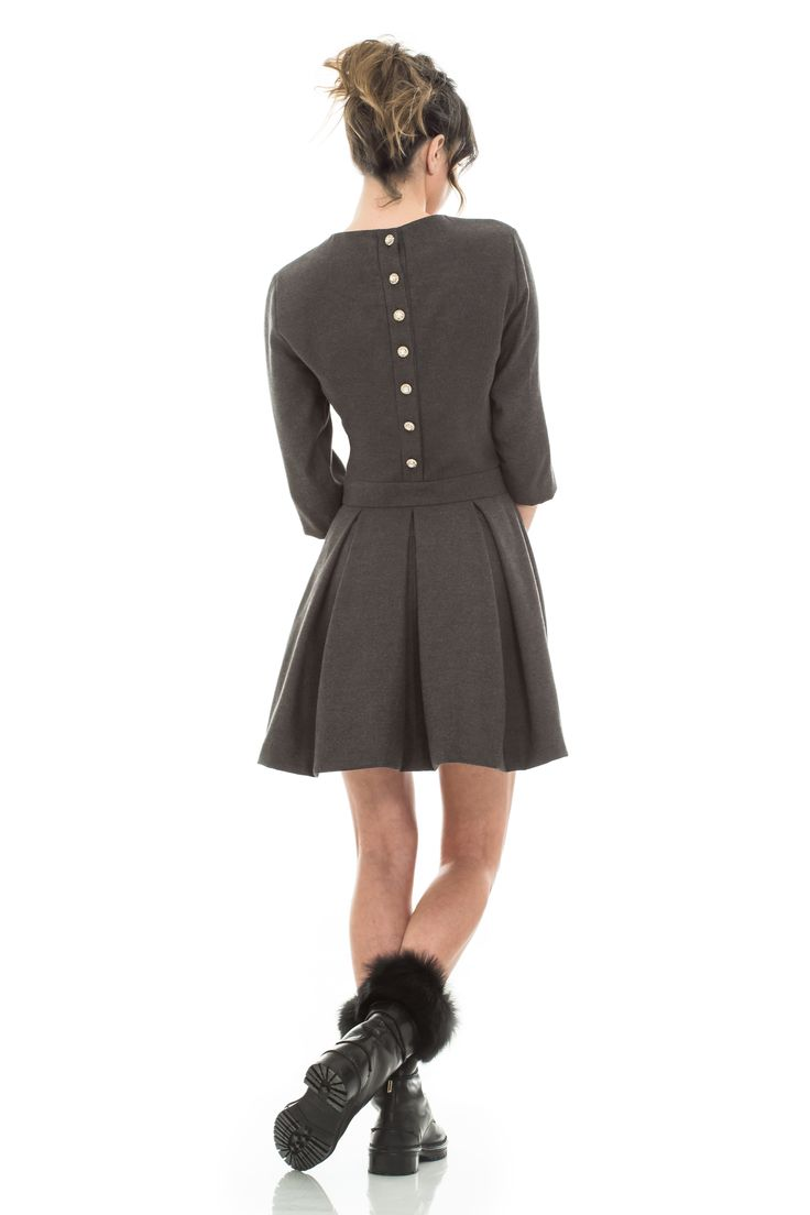 Grey wool mini dress with jewel buttons  #sparklingjewelry #buttons #style #fashion