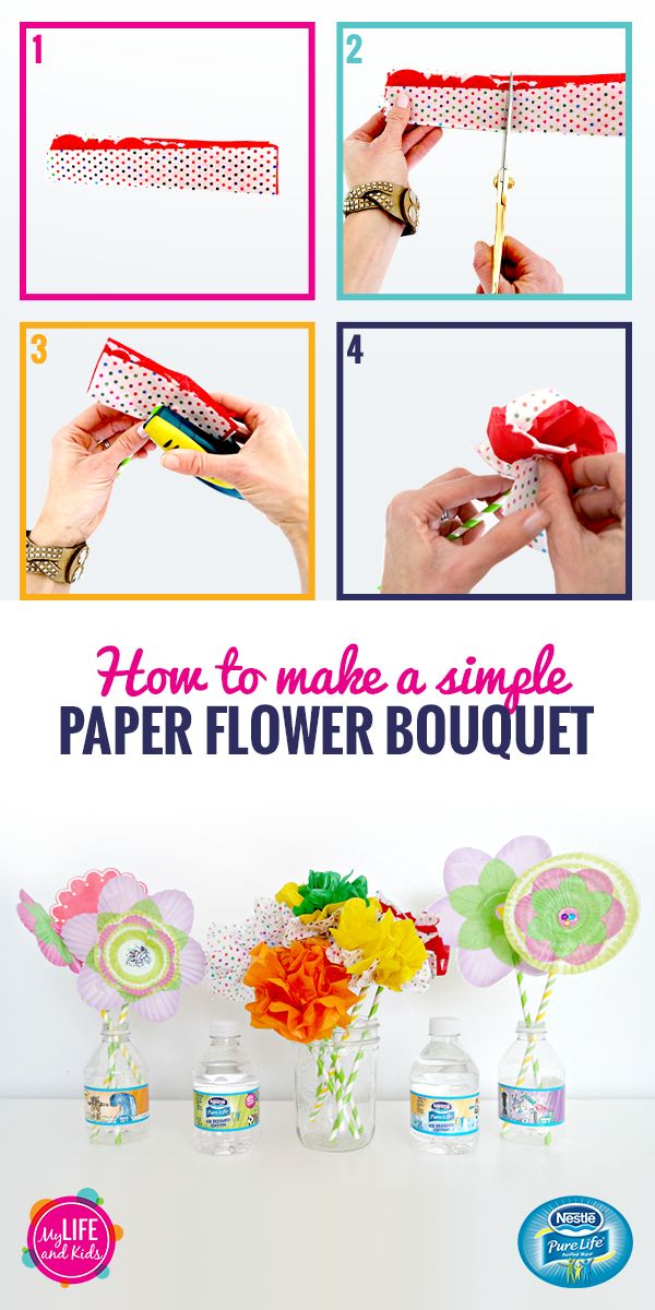 "Tissue paper, cupcake liners and paper straws are all you need to make these simple paper flower bouquets. And what better vase than a NESTLÉ Pure Life Kid Designed Edition bottle? These bottles feature eight winning designs from the 2016 ""Share Your Smile"" contest and will keep your kids hydrated while they enjoy spring crafting."