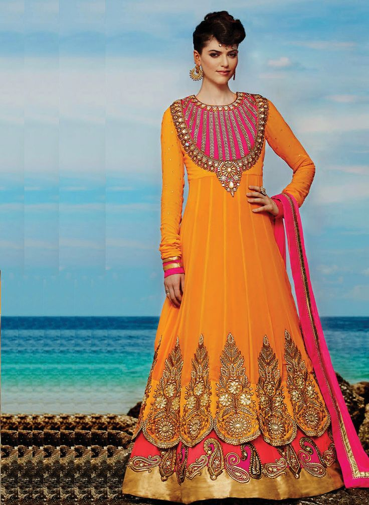 Yellow Embroidered Semi-Stitched Floor Length Anarkali Suit
