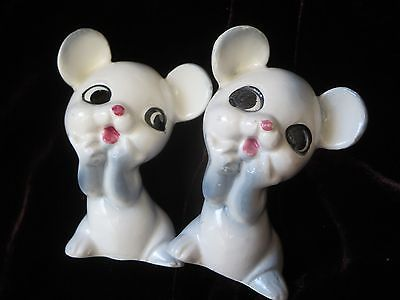 Vintage-SALT-amp-PEPPER-SHAKERS-Ceramic-MICE-Big-Eyes-Cute-Japan