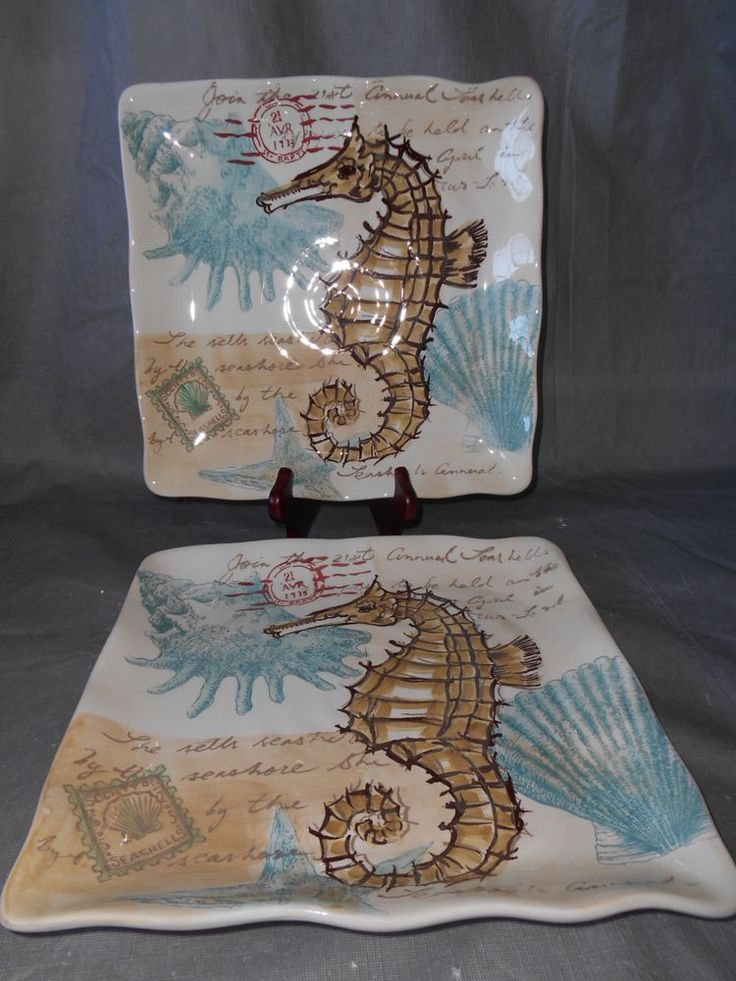 4 MAXCERA Stamp Seahorse Ocean Shell Dinnerware Square ...