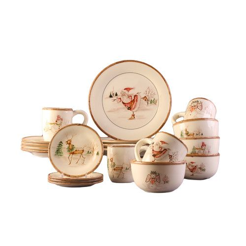 Features:  -Hand wash.  -Made of earthenware.  -Christmas theme.  Color: -Cream.  Style: -Contemporary.  Material: -Earthenware.  Number of Items Included: -20.  Holiday Theme: -Yes.  Seasonal Theme: