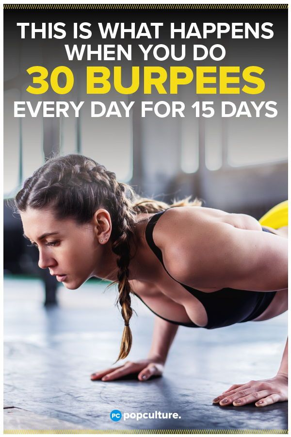 This Is What Happens When You Do 30 Burpees Every Day for 15 Days. Hint: the health benefits are amazing! #burpees #fitnesschallenge #totalbodyworkout #healthbenefits