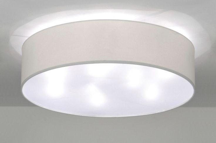 Plafondlamp 71391 modern metaal stof wit rond