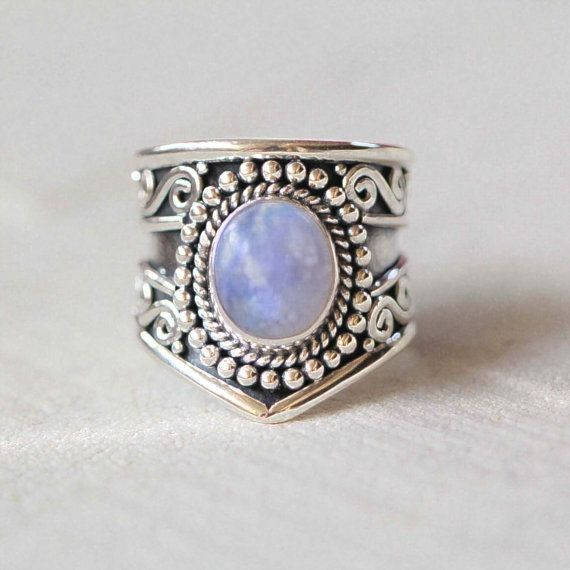 Rainbow Moonstone Statement Ring Solid Sterling by DonBiuSilver