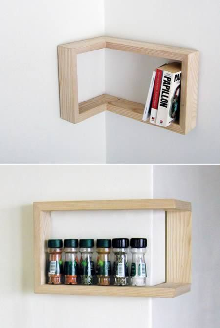 This shelf can be hung positive or negative depending on your corner. Clever.