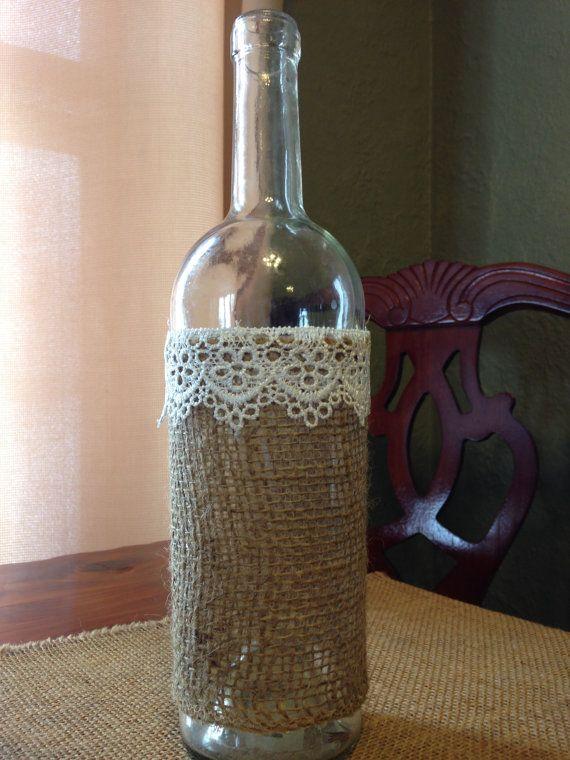 decorative wine bottle lace burlap jute string by quaintbeginnings   12 00