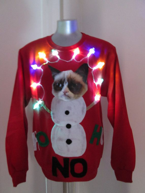 Light-Up Grumpy Cat Sweater | 19 Stupefyingly Ugly Christmas Sweaters You Can Buy