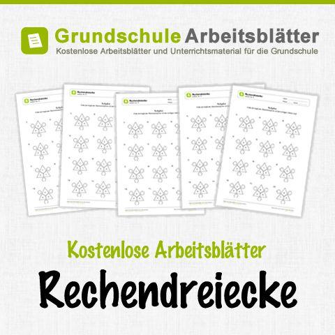 Kostenlose Arbeitsblätter und Unterrichtsmaterial zum Thema Rechendreiecke im Mathe-Unterricht in der Grundschule.