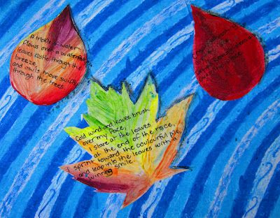 great fall art/poetry project. Kids make the leaves, paint them, then write poems on them.  Created a neat background and it is done.