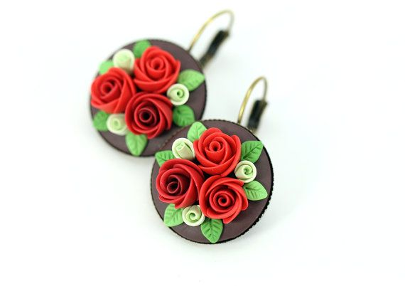 Floral Earrings • Fashion jewelry • Dangle earrings • Floral jewelry • Red earrings • Polymer clay applique • Rustic wedding • Сlay flowers