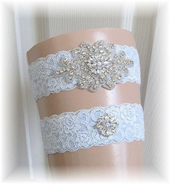 Blue Wedding Garter Set Bridal Keepsake Toss Something Stretch Lace With Crystal Embellishments