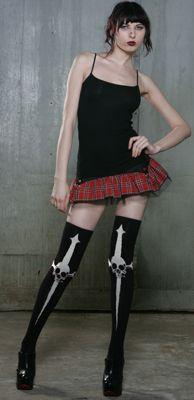 "LIP SERVICE Spck It To Me ""Thigh's The Limit"" socks #99-002 - black/white"