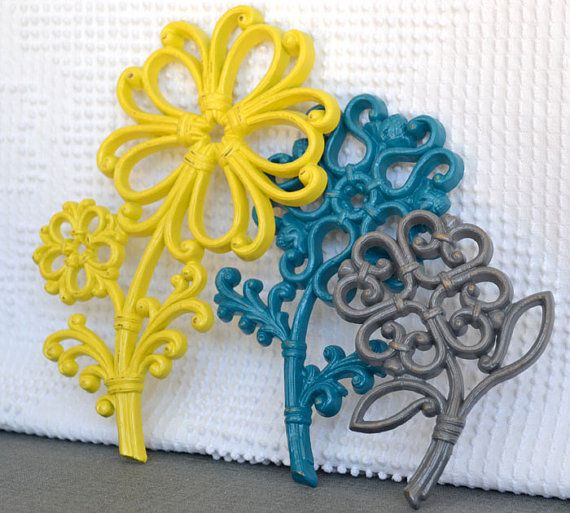 Teal Yellow Grey/Gray Wall Flowers  Upcycled Painted by BeautiSHE, $14.50
