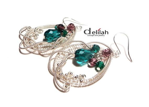 Emerald Green Wire Wrapped Lace Earrings Wire Wrap by mssdelilah