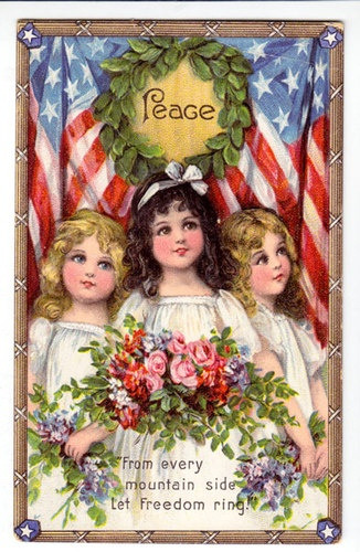 """Adorable illustration of children in front of flag.  """"Peace"""" & """"Let Freedom Ring"""""""