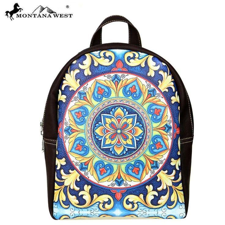 New Montana West Backpack Bookbag Purse Mandala Print Boho Hippi Coffee #MontanaWest #BackpackStyle