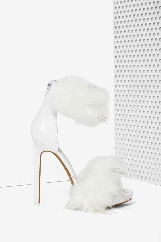 Jeffrey Campbell Cookie Faux Fur Heel - Open Toe