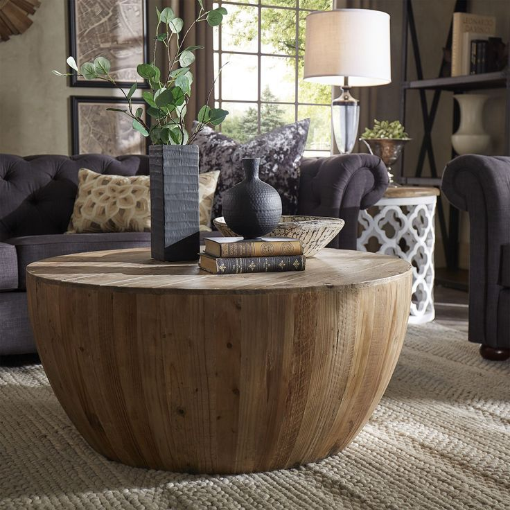 Hatteras Drum Reclaimed Woodblock Barrel Coffee Table Signal Hills by iNSPIRE Q Artisan (Coffee Table), Brown